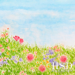 Photography Backdrop | Watercolor Spring Meadow