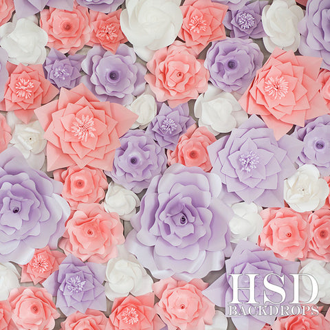 Photography Backdrop Background | Pink & Purple Paper Flowers