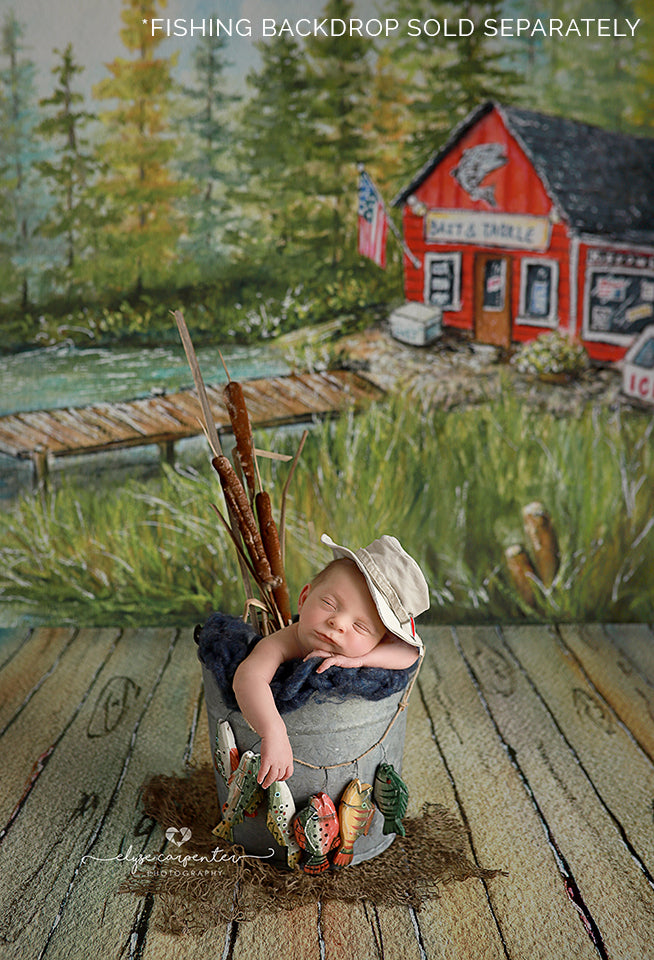 Gone Fishin' Floor Dock photography backdrop & background
