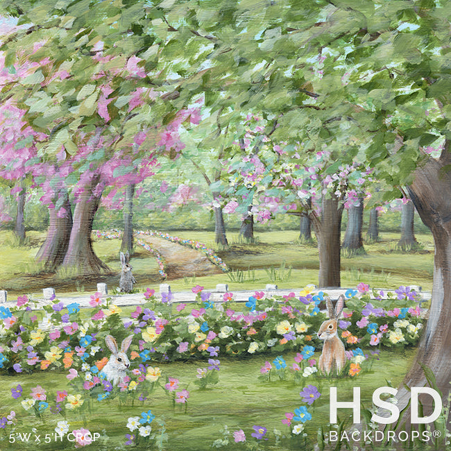 Bunny Garden Easter Backdrop photography backdrop & background