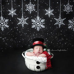 Christmas Photography Backdrop Background | Hanging Snowflakes