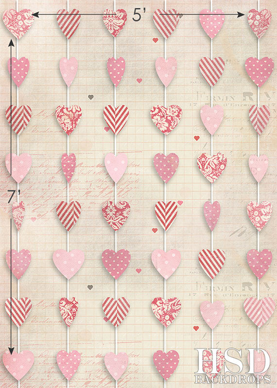 valentines day photography backdrop hanging hearts - Valentines Backdrops