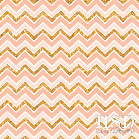 Photography Backdrop | Salmon & Gold Chevron
