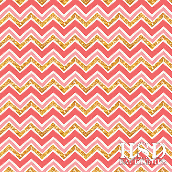 Pink & Gold Chevron - HSD Photography Backdrops