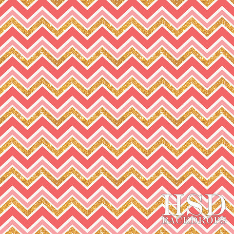 Photography Backdrop | Pink & Gold Chevron