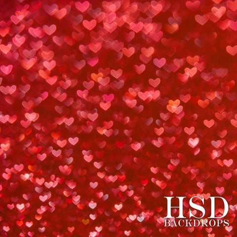 valentines photography backdrop red bokeh hearts - Valentines Backdrops