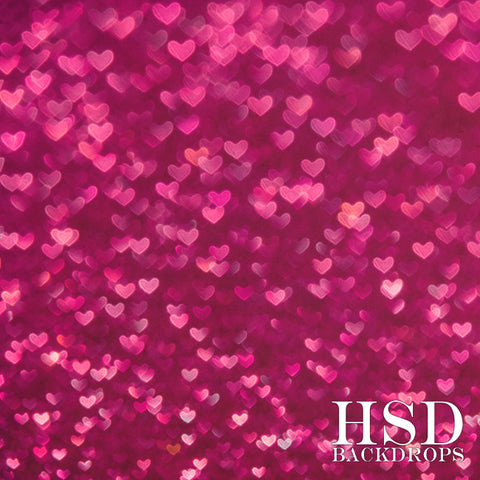 Valentine's Photography Backdrop | Dark Pink Bokeh Hearts