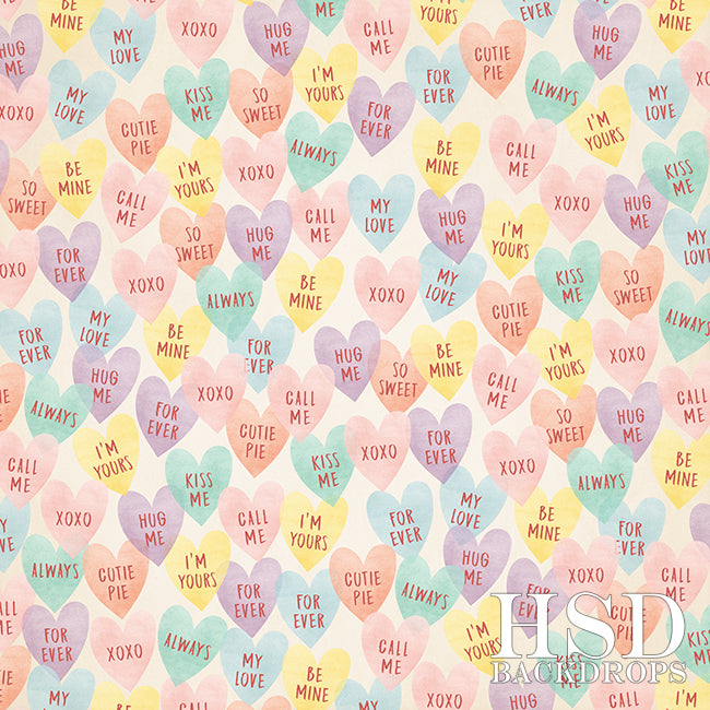 Valentine's Day Photography Backdrop | Candy Hearts