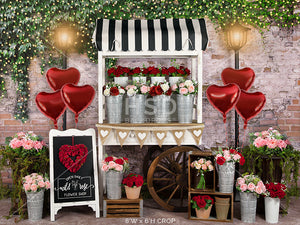 Valentine's Day Flower Cart photography backdrop & background