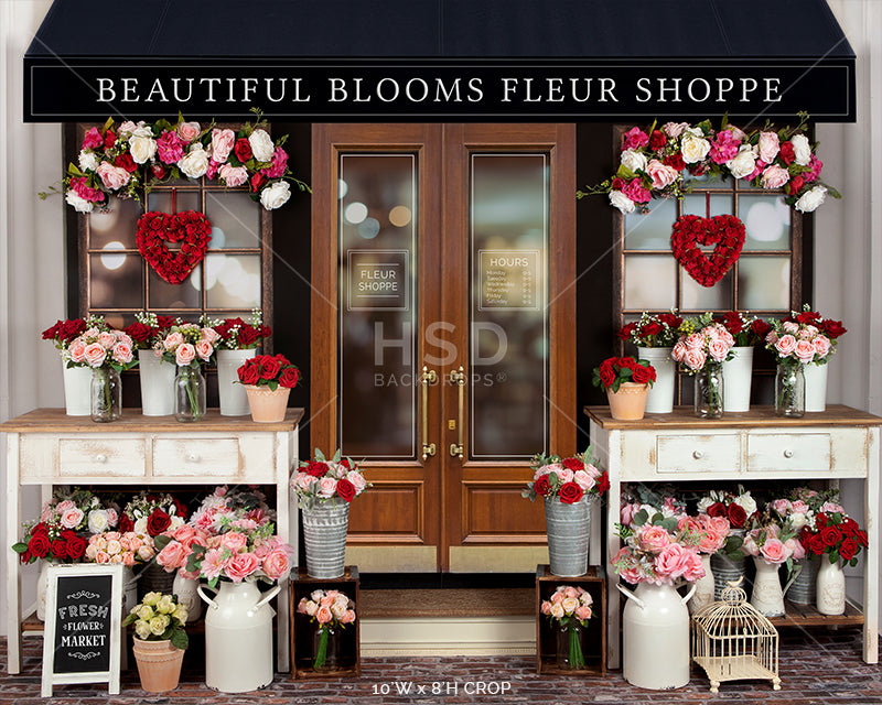 Valentine's Day Flower Shop photography backdrop & background