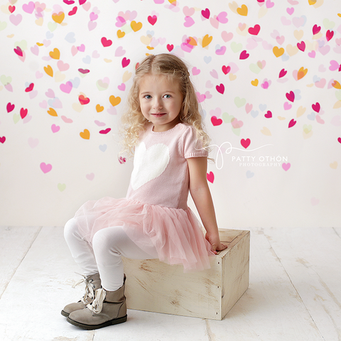 Valentine's Photography Backdrop | Confetti Heart Drop