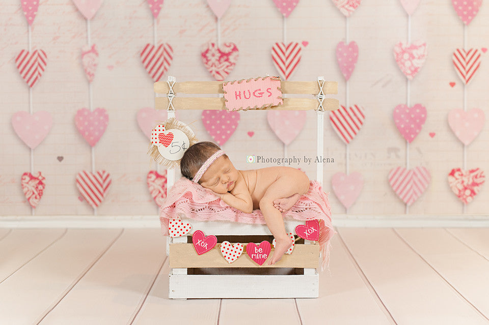 valentines day photography backdrop hanging hearts