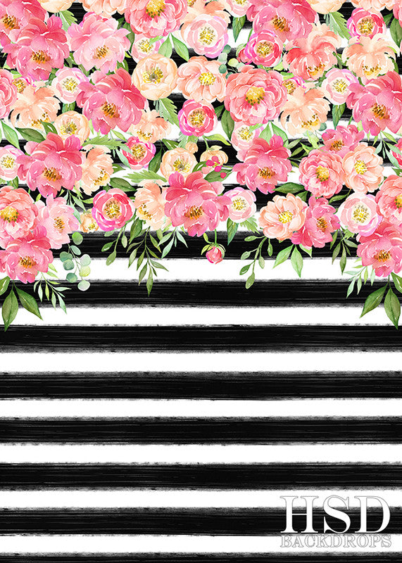 Striped Floral Photography Backdrop Kate Spade Party