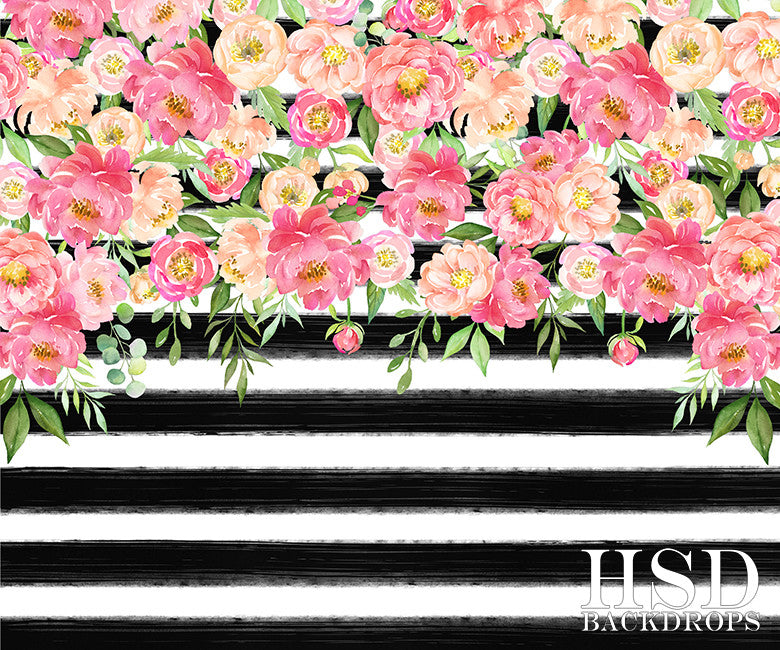 Striped Floral Photography Backdrop Kate Spade Party ...