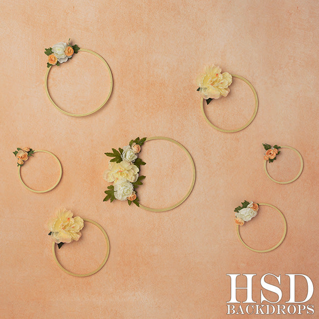 Peach Floral Hoops photography backdrop & background
