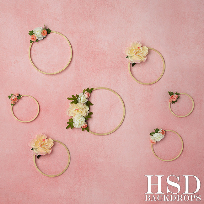 Pink Floral Hoops photography backdrop & background