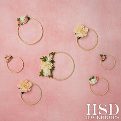 Photography Backdrop  Background | Pink Floral Hoops