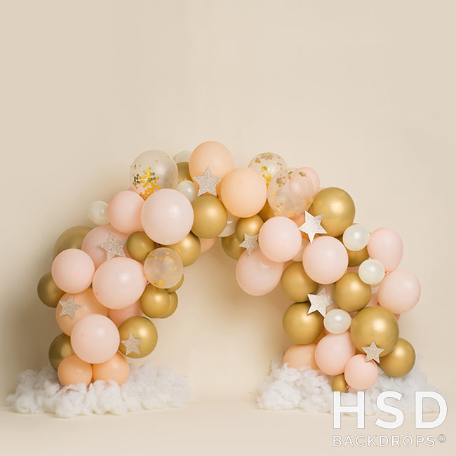 Pink and Gold Balloon Arch Backdrop