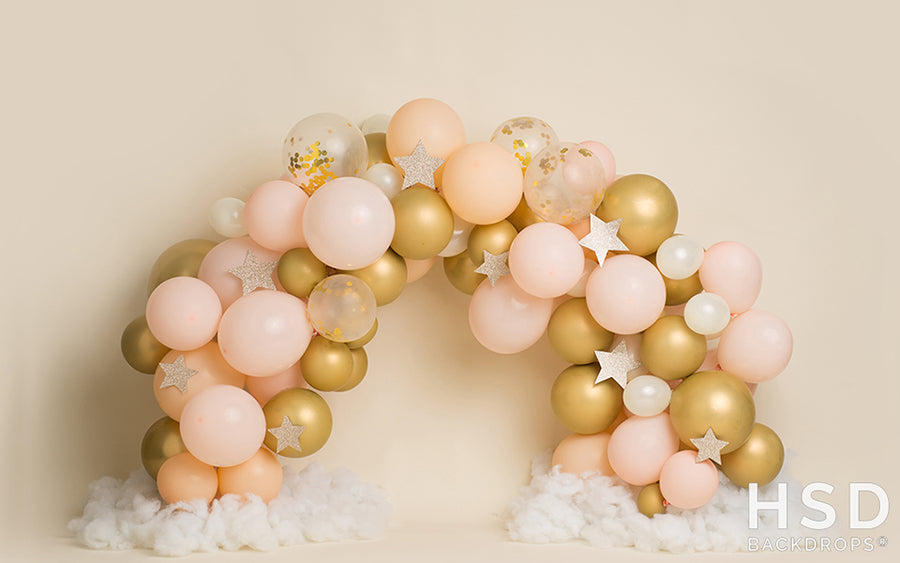 Pink and Gold Balloon Arch Backdrop photography backdrop & background