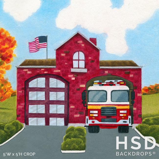 Fire Station photography backdrop & background