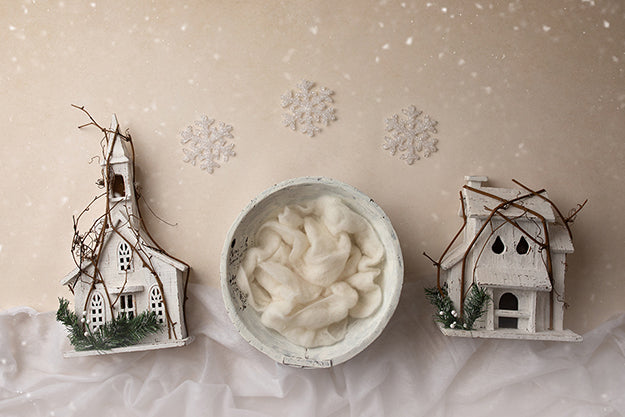 Digital Backdrop | White Christmas Coll. | Winter Village White