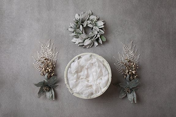 Digital Backdrop | A Perfect Winter Coll. | Wintry White Floral II - HSD Photography Backdrops