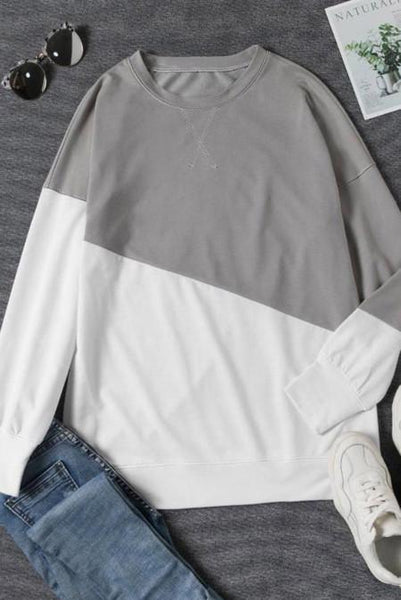 White and Gray/Green Long Sleeve Crew