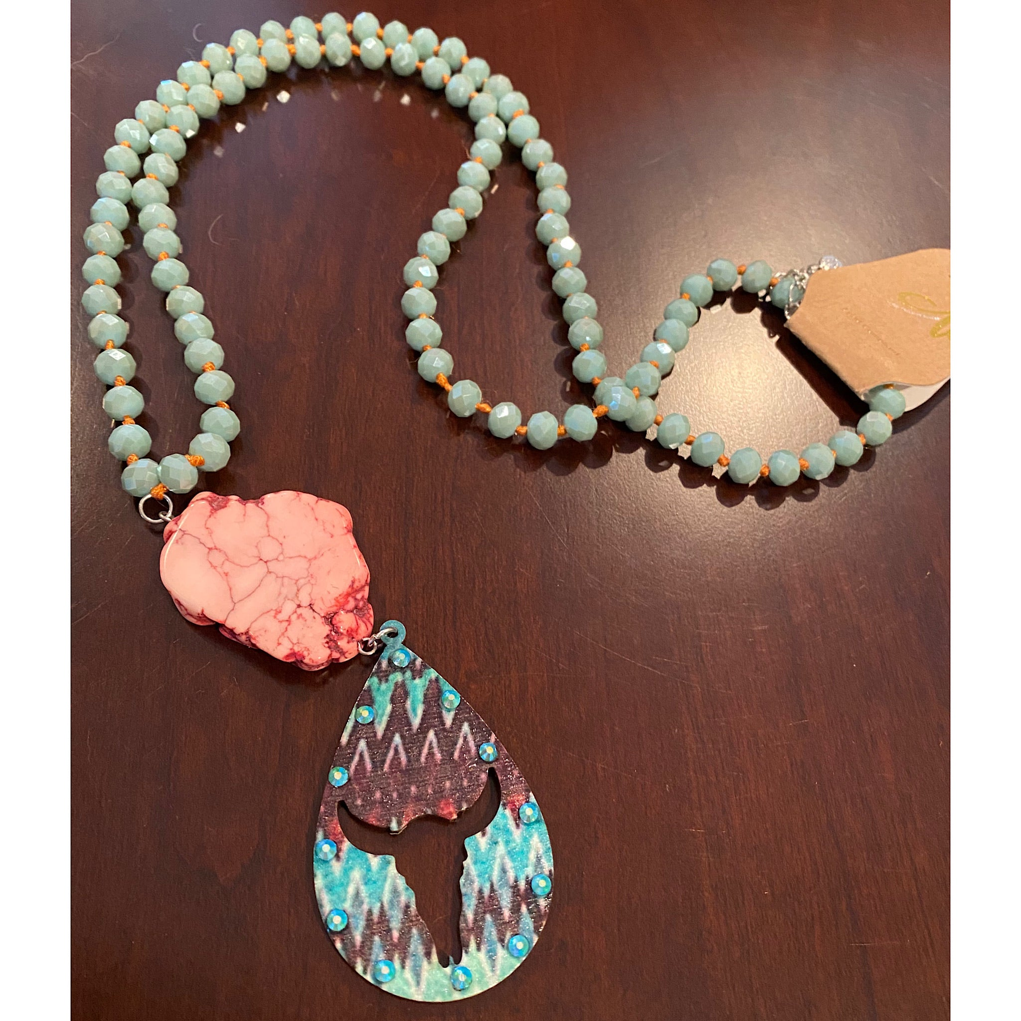 Beaded Pink Stone Cow Necklace