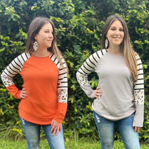 Striped Leopard Print Colorblock Top