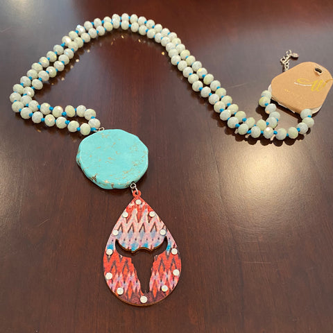 Beaded Turquoise Cow Necklace