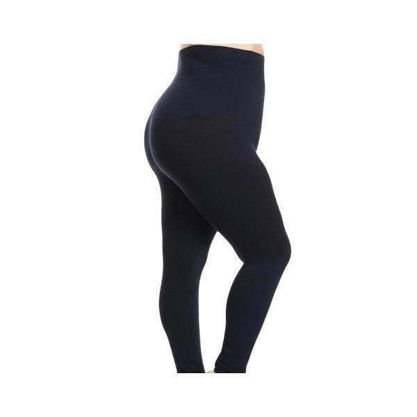 "1"" Elastic Waist Plus Size Leggings - Navy"