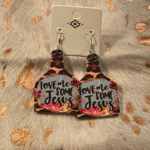 Jesus Cattle Tag Earrings