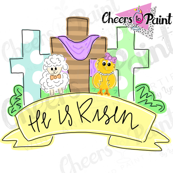 Unfinished- He is Risen Crosses Wood Cutout