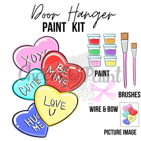 Candy Hearts- DIY Door Hanger Paint Kit