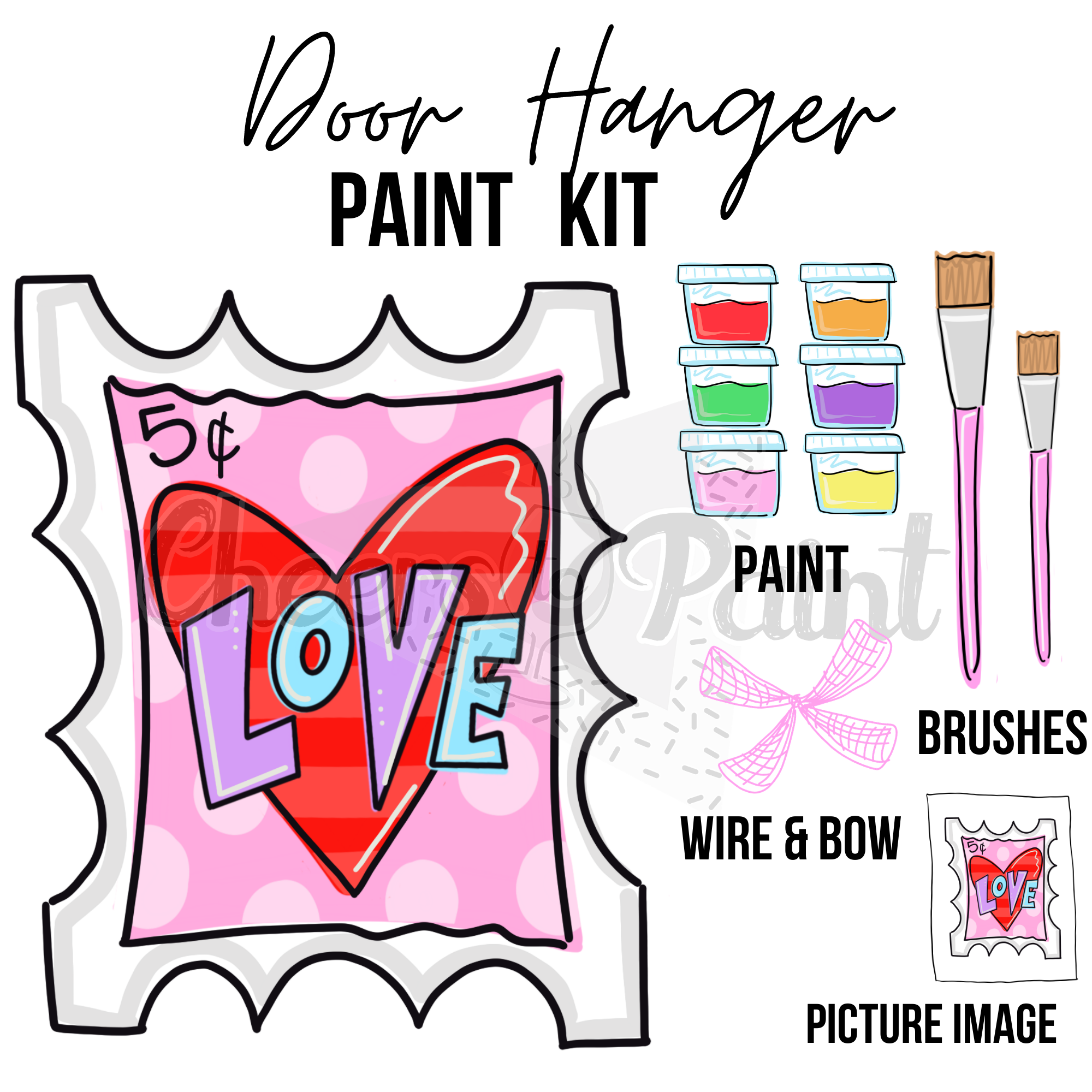 Love Stamp -DIY Door Hanger Paint Kit