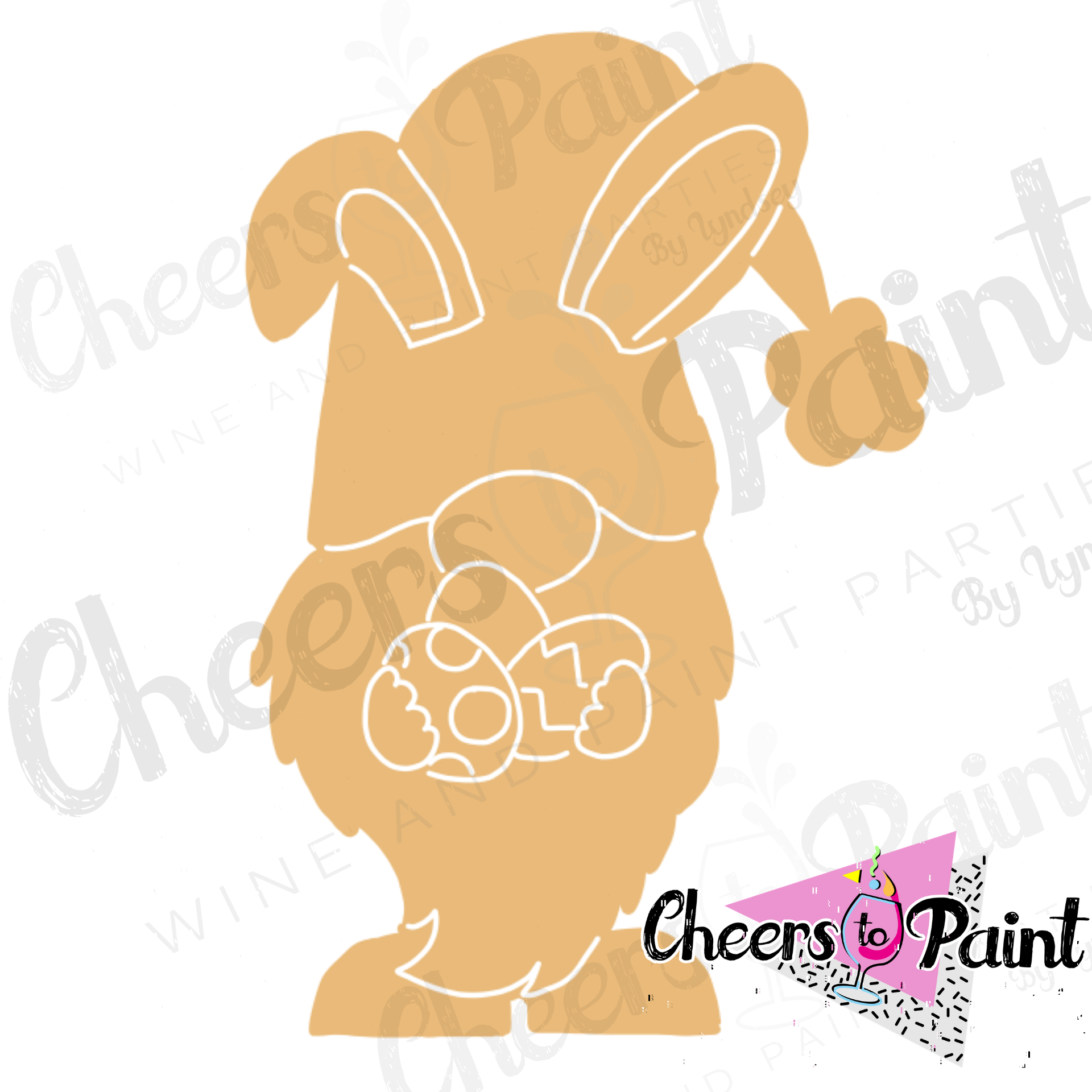 Unfinished- Bunny Gnome Wood Cutout