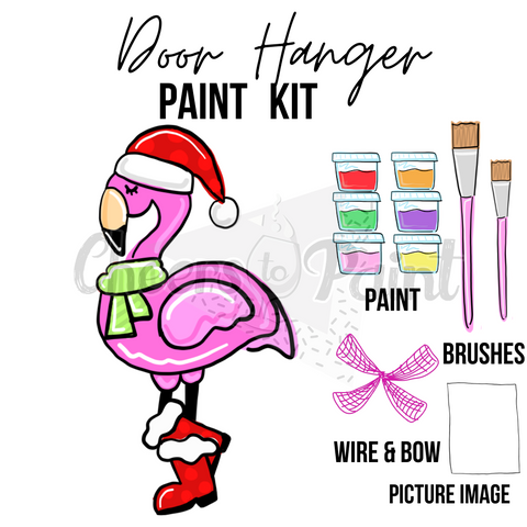 Flamingo Santa Boots- DIY Door Hanger Paint kit
