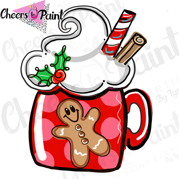 Gingerbread Frosted Mug-  DIY Door Hanger Paint Kit