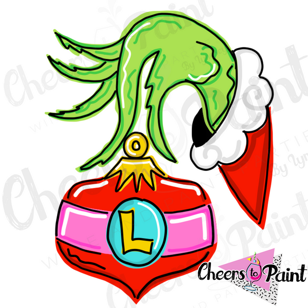 Unfinished- Grinchy Hand Ornament Wood Cutout