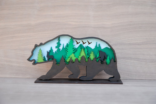 Forest Surprise Scenic Bear Figurine