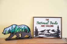 "Load image into Gallery viewer, ""Have you seen bigfoot"" Figurine and ""Parks are Calling"" Frame"