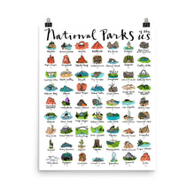 Load image into Gallery viewer, 63 National Park Checklist Poster / FREE SHIPPING / Track your parks adventure