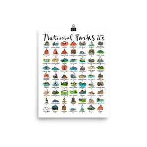 63 National Park Checklist Poster / FREE SHIPPING / Track your parks adventure
