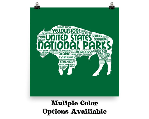 62 National Park Poster Bison Word Art / 62 National Park Print / National Park Travel Poster / National Park Art Print