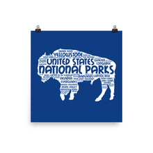Load image into Gallery viewer, 62 National Park Poster Bison Word Art / 62 National Park Print / National Park Travel Poster / National Park Art Print