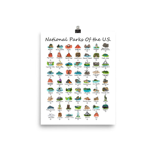 62 National Park Checklist Poster