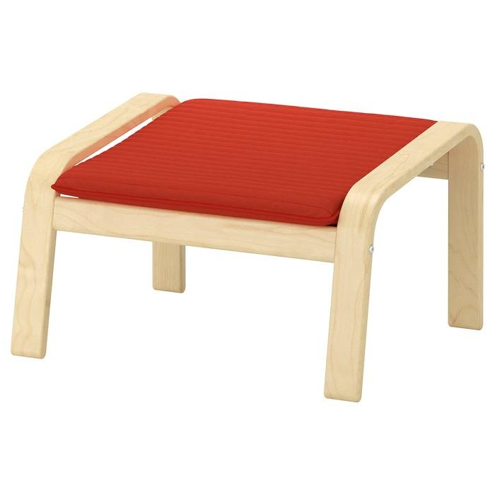 POANG Footstool, Birch veneer & knisa red/orange