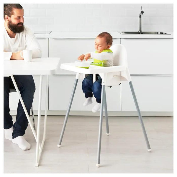 ANTILOP Highchair with tray, White/silver-colour