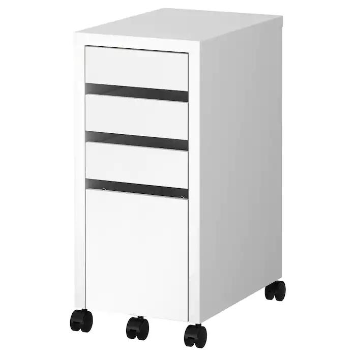 MICKE Drawer unit with drop-file storage, White