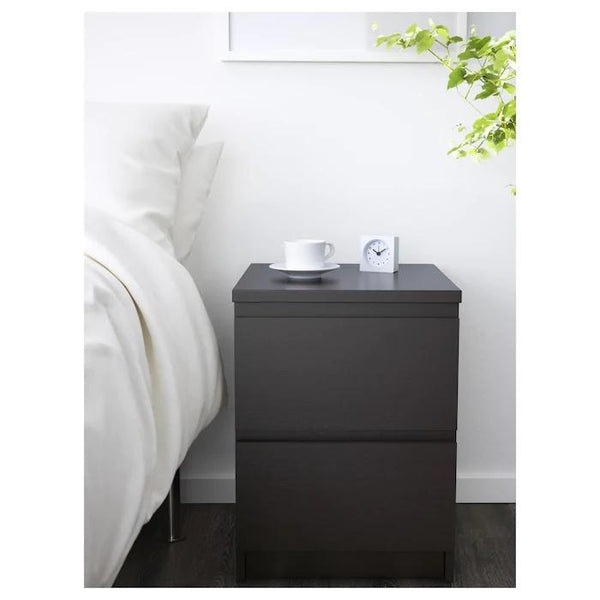 MALM chest of 2 drawers/bedside table, Black-brown